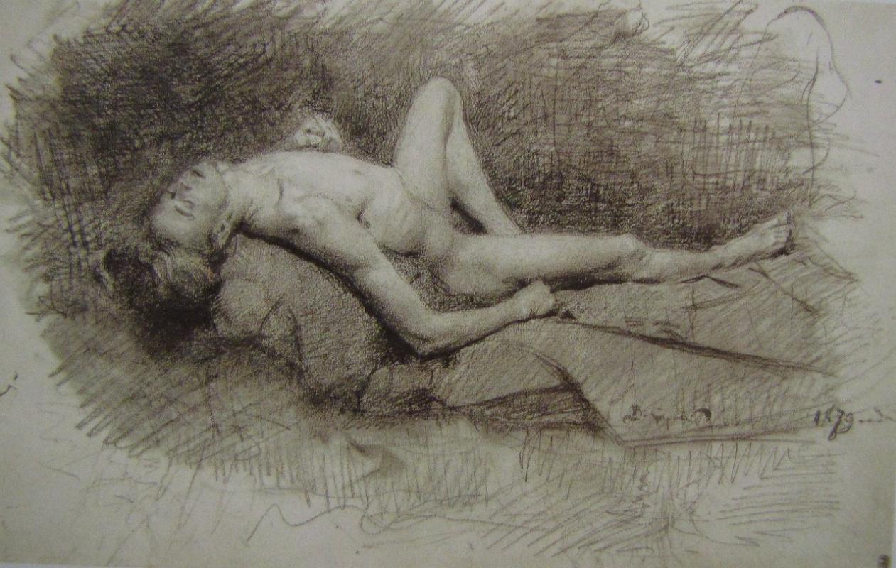 Valentin Aleksandrovich Serov. Sitter, lying with his head thrown back