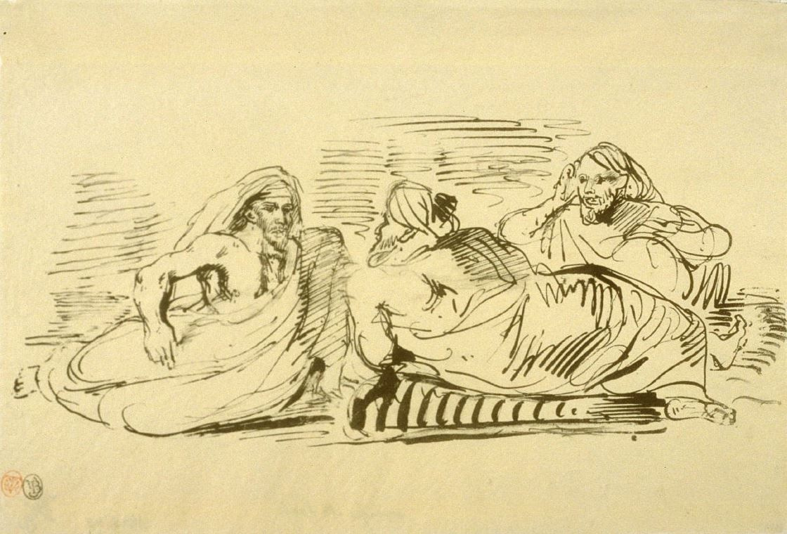 Eugene Delacroix. The Arabs are talking, lounging on the pillows