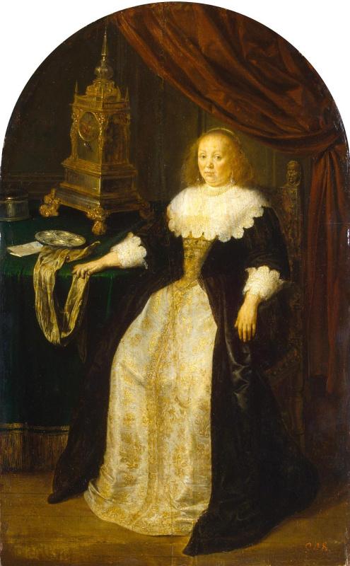 Франц ван Мирис Старший. Портрет дамы, сидящей у стола