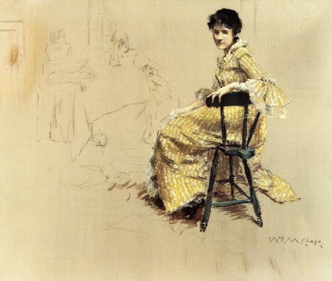 William Merritt Chase. Woman in yellow dress