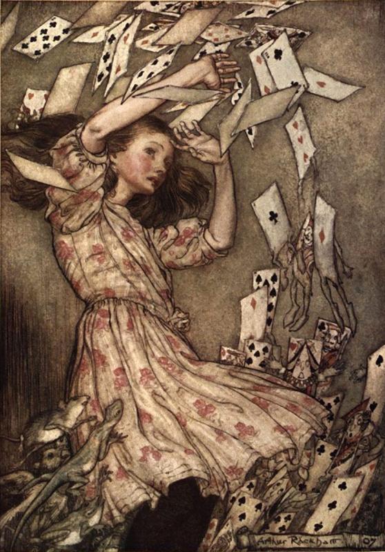 """Артур Рэкхэм. Все закружилось. Иллюстрация к сказке """"Алиса в Стране чудес"""""""