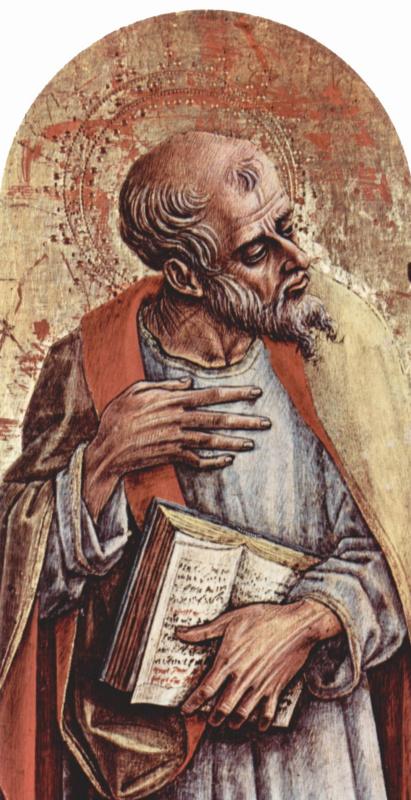 Карло Кривелли. Апостол. Центральный алтарь кафедрального собора в Асколи, полиптих, пределла
