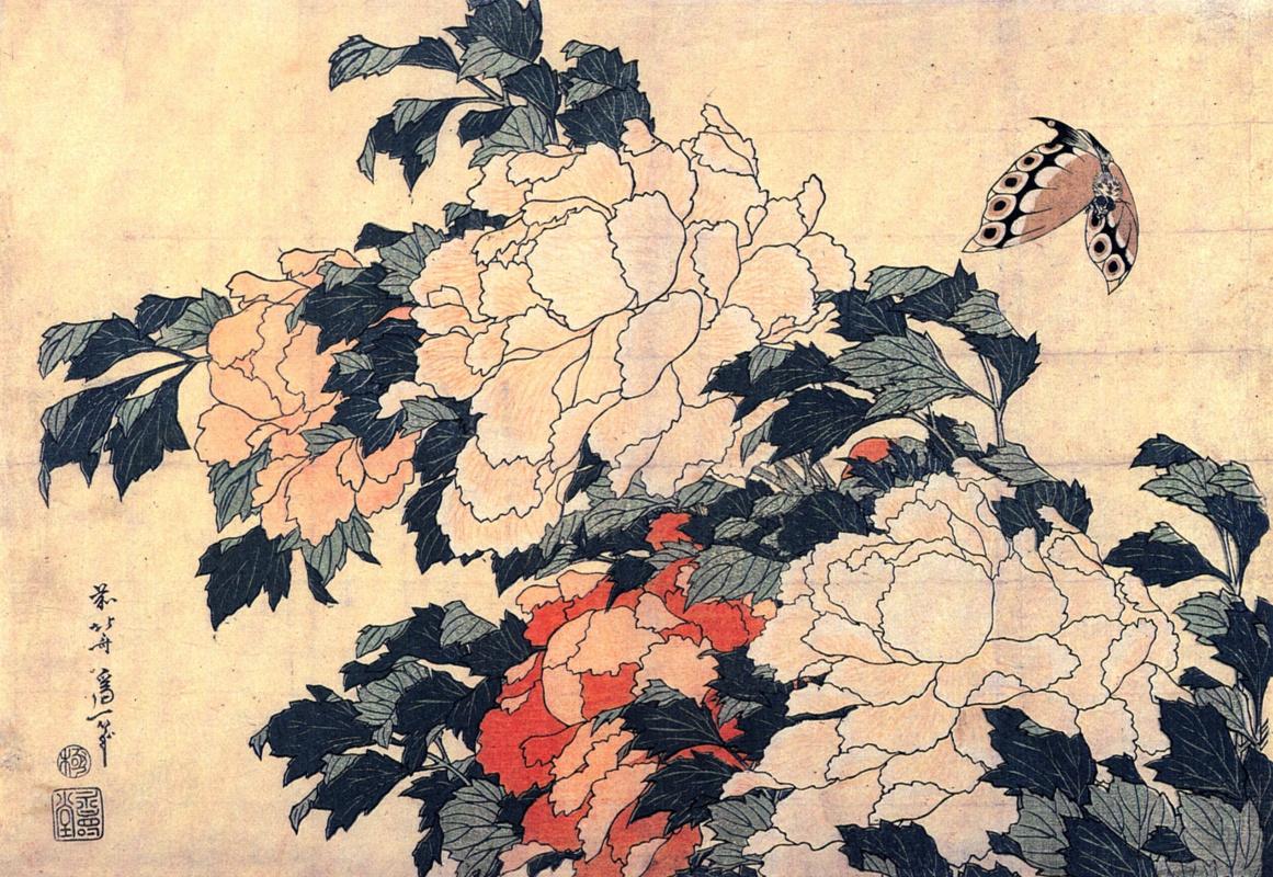 Katsushika Hokusai. Peonies and Butterfly