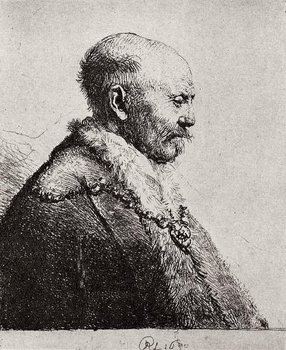 Рембрандт Харменс ван Рейн. Голова лысого старика в профиль вправо