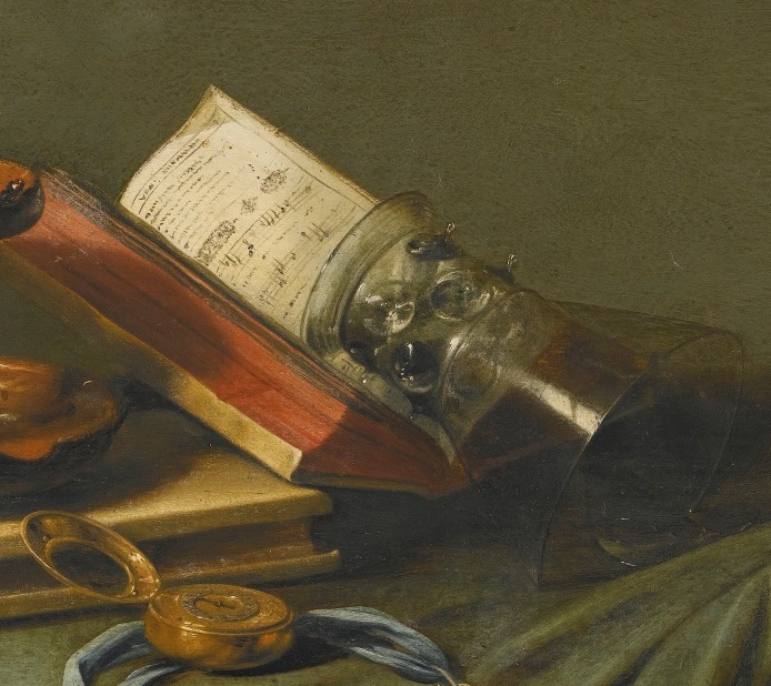 Still life with oil lamp, notes, goblet and shells