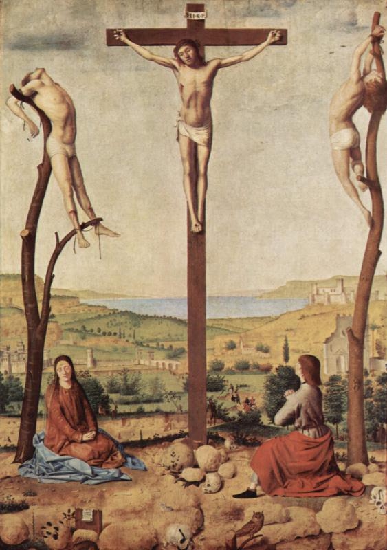 Антонелло да Мессина. Распятие, Мария и Иоанн. Деталь: Евангелист Иоанн