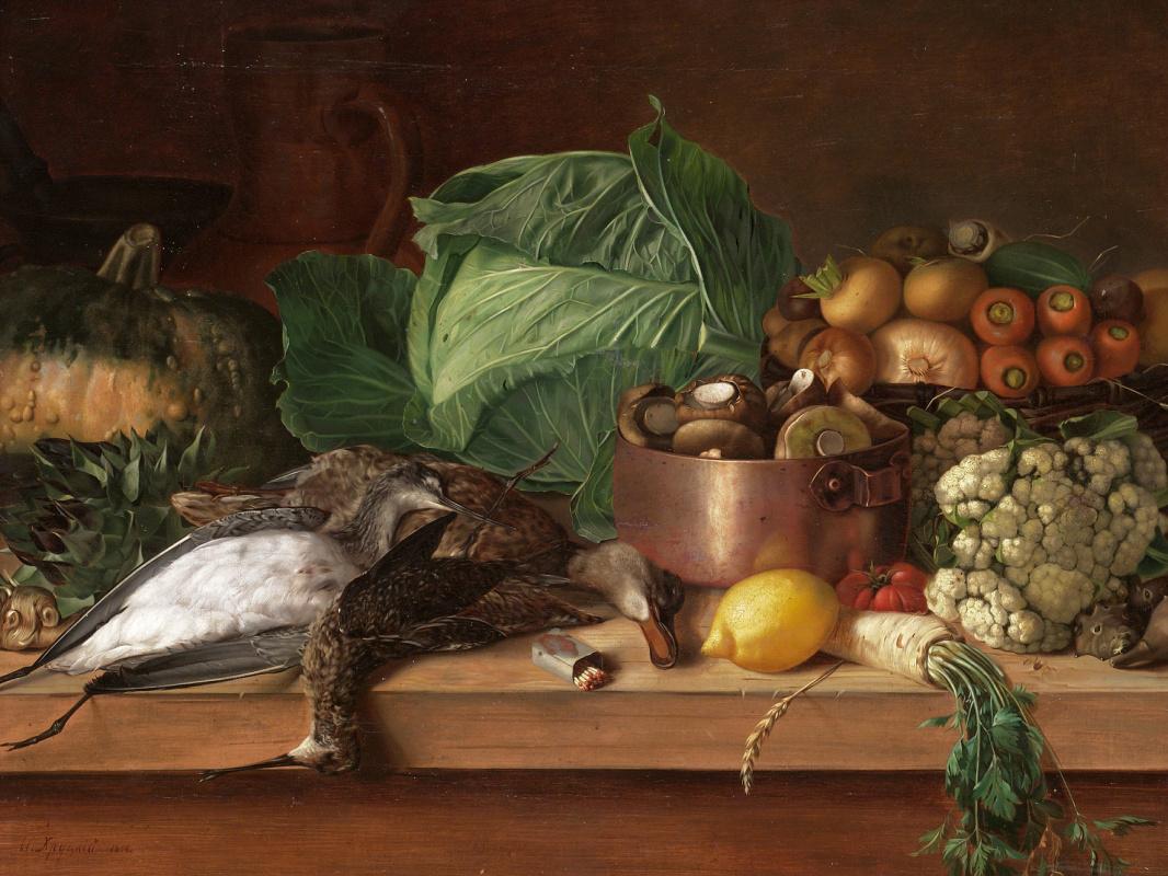 Ivan Fomich (Trofimovich) Khrutsky. Broken game, vegetables and mushrooms