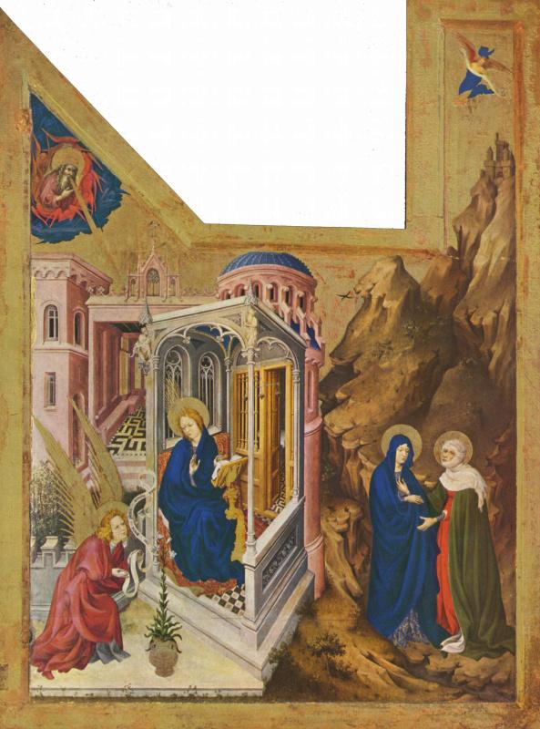 Мельхиор Брёдерлам. Алтарь для Филиппа Храброго, герцога Бургундского, левая створка: Благовещение и встреча Марии и Елизаветы