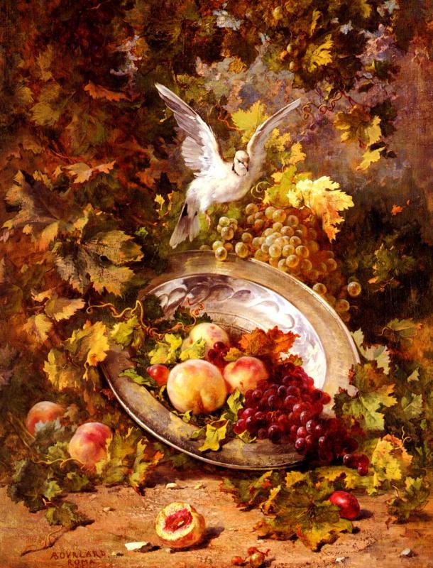 Антуан Борленд. Персики и виноград с голубем