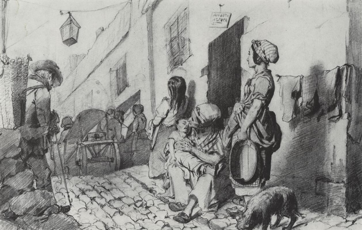 Василий Григорьевич Перов. Похороны в бедном квартале Парижа