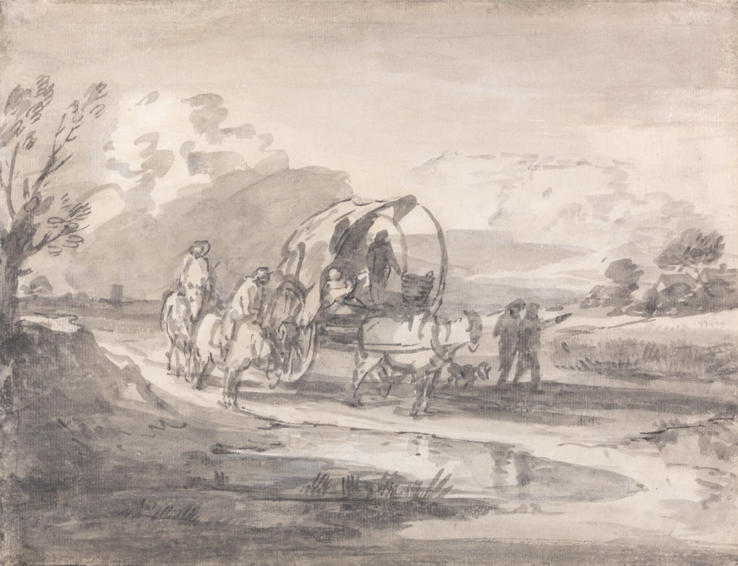 Thomas Gainsborough. Landscape with a carriage and horsemen