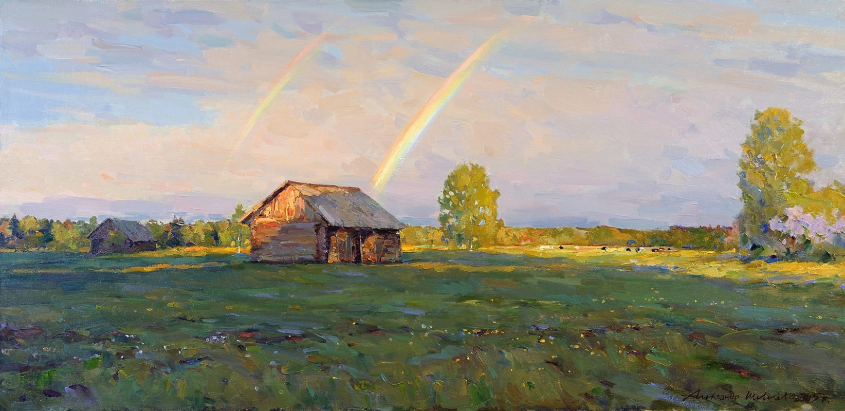 Alexander Victorovich Shevelyov. Summer evening. Oil on canvas 52.7 x 110 cm. 2015