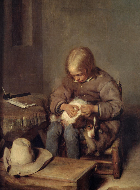 Gerard Terborch (ter Borch). The boy is looking for fleas in his dog (flea catcher)