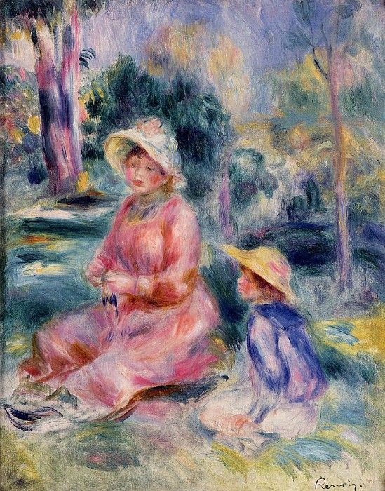 Pierre-Auguste Renoir. Madame Renoir and her son Pierre