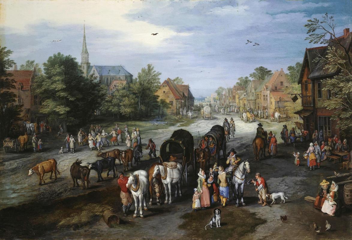 Jan Bruegel The Elder. View of the village of Schelle (Street in the village)