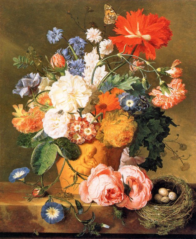 Ян ван Хейсум. Цветы в терракотовой вазе