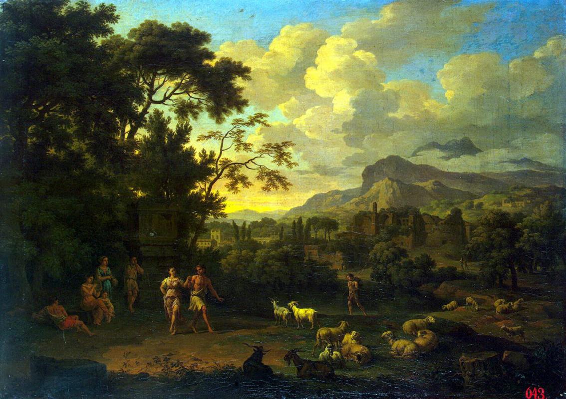 Якоб де Хейсх. Пейзаж с танцующими пастушками