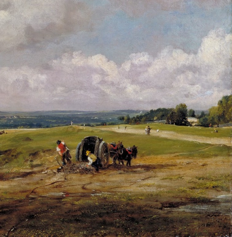 John Constable. Hampstead Heath, the view of the valley and working peasants. Snippet: the peasants in a cart