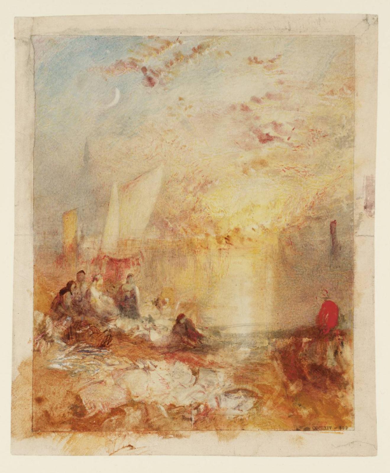 Джозеф Мэллорд Уильям Тёрнер. Закат. Рыбный рынок на пляже