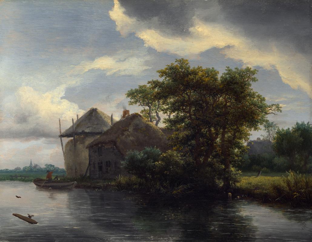 Якоб Исаакс ван Рейсдал. Коттедж и стог сена на реке