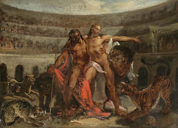 Eugene Delacroix. Gladiators in the Coliseum