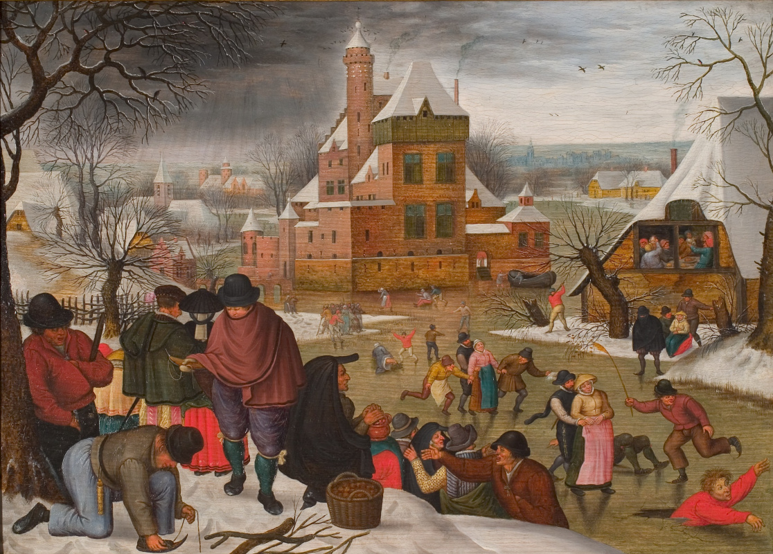 Peter Brueghel the Younger. Winter landscape of entertainment on the rink