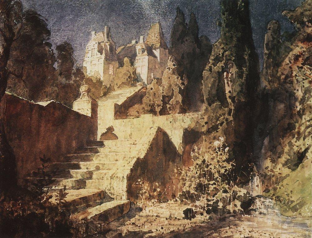 "Vasily Polenov. The staircase to the castle. Scenery for the play ""Scarlet Rose"""