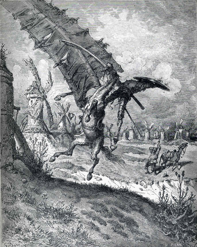 Paul Gustave Dore. Windmill Adventure