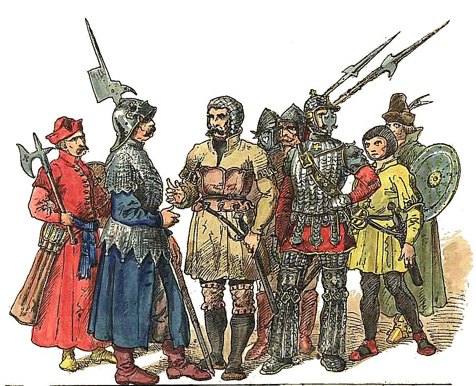 """Ян Матейко. Польские солдаты 1507 - 1548. """"Польская одежда, 1200 - 1795 г.г."""""""