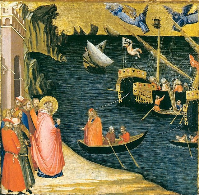 Ambrogio Lorenzetti. Scenes from the life of St. Nicholas. Detail: St. Nicholas, miraculously filling the holds of ships with grain