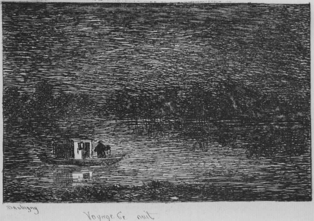 Шарль-Франсуа Добиньи. Серия Альбом путешествия в лодке, Ночное путешествие, или Ловля рыбы сетями, первое состояние