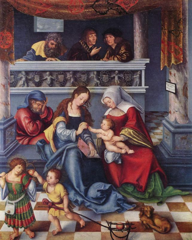 Лукас Кранах Старший. Торгаурский княжеский алтарь, центральная часть: святая родня