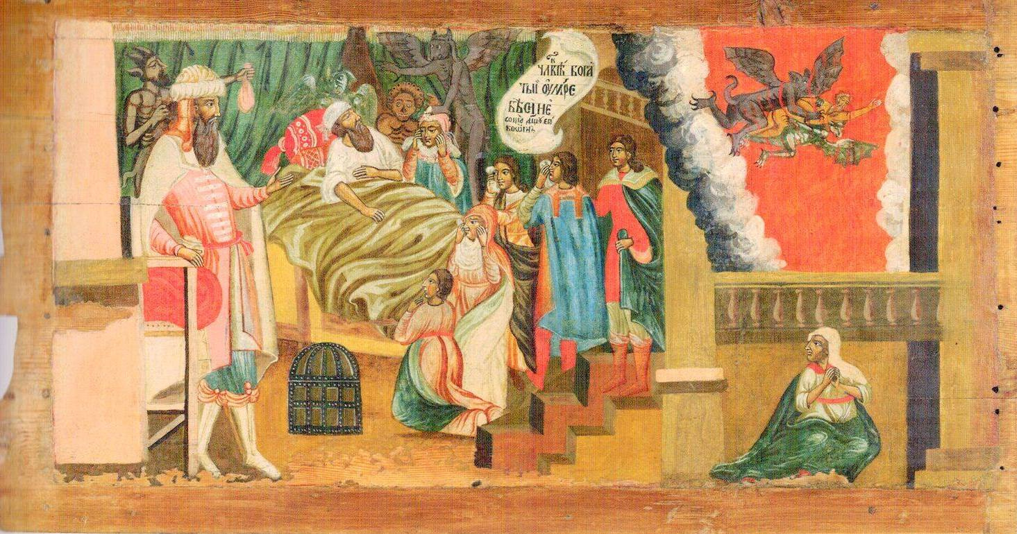Icon Painting. The parable of the rich and the poor Lazarus. Death of a rich man