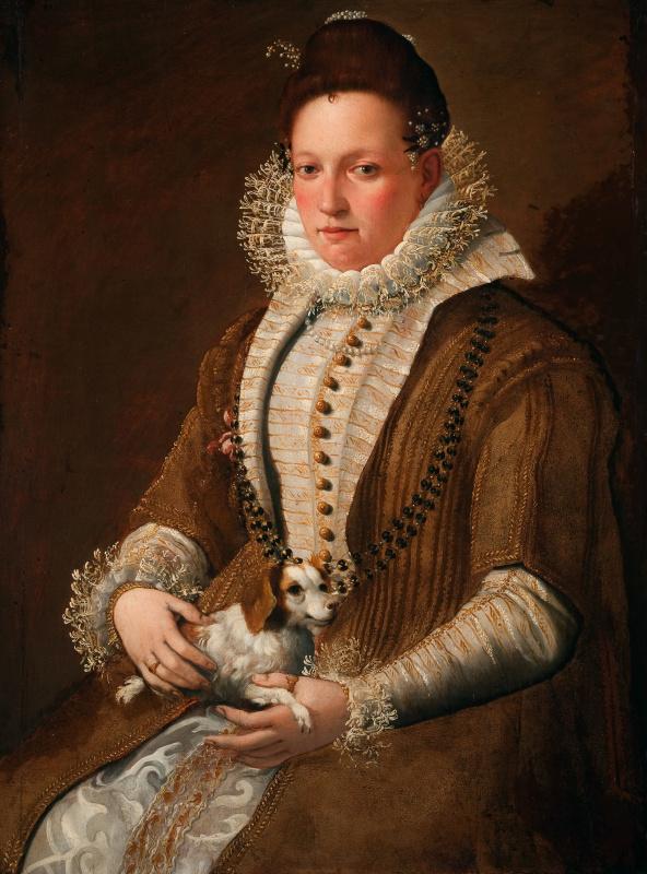 Lavinia Fontana. Portrait of a lady with a doggy