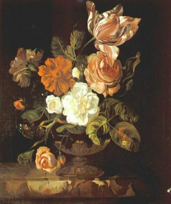 Rachelle Ruysch. Flowers in a vase