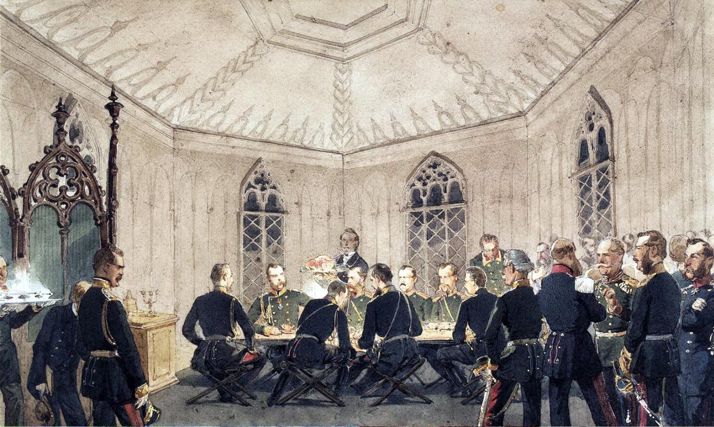Михай Зичи. Александр II с группой венных за столом в готическом интерьере