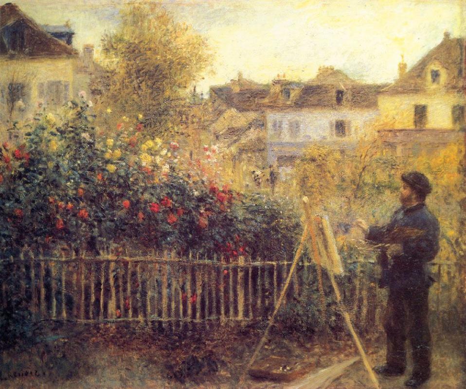 Pierre-Auguste Renoir. Claude Monet, painting the picture in his garden in Argenteuil