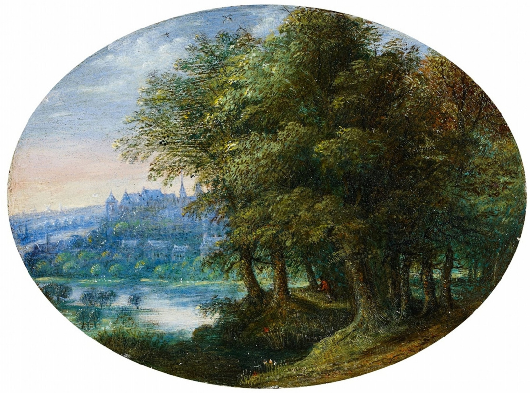 Jan Bruegel The Elder. Forest landscape with a view of Prague.