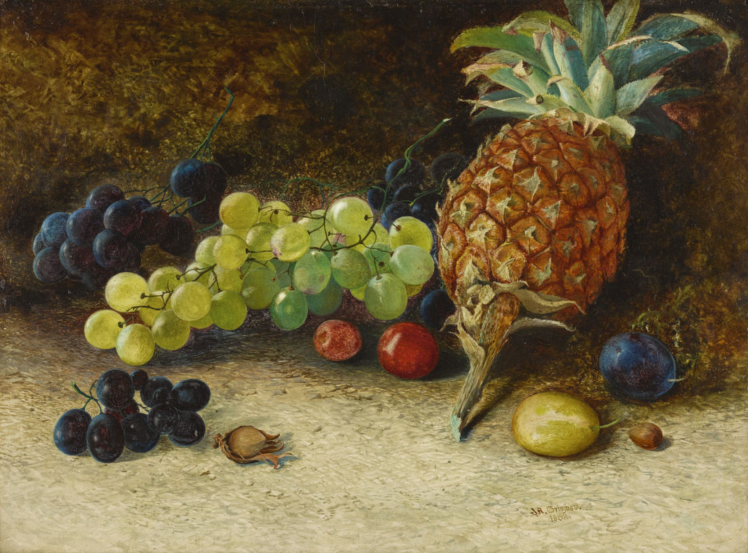 John Atkinson Grimshaw. Still life with pineapple and grapes