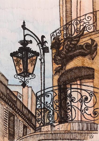 Larissa Lukaneva. Lantern on the balcony. Sketch.