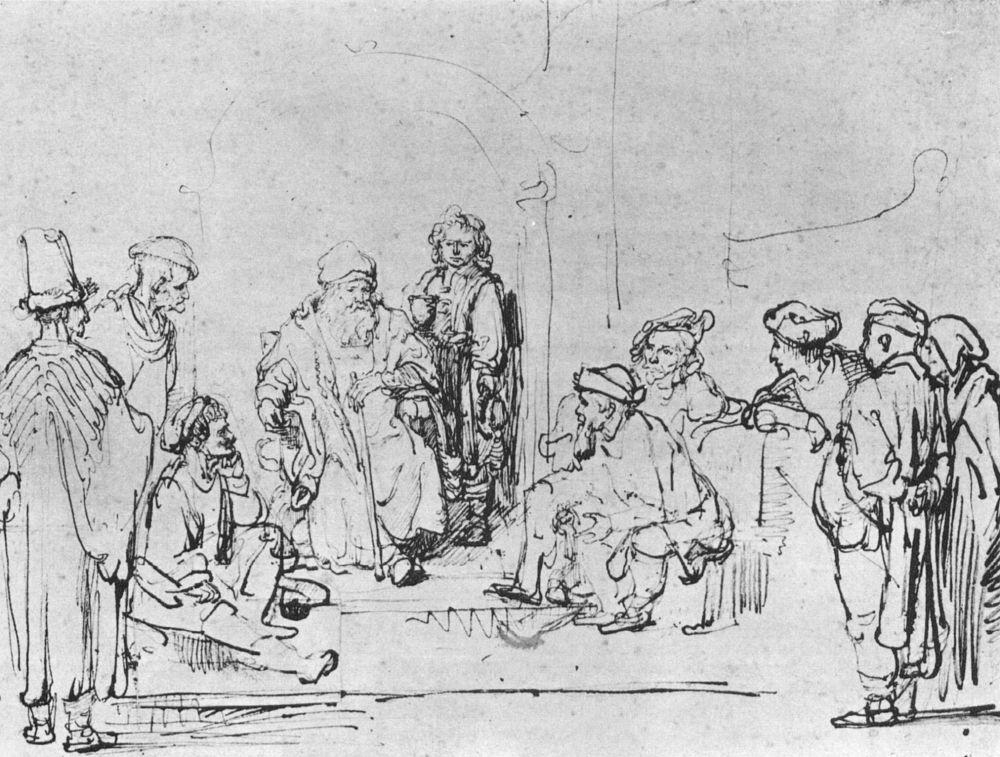 Рембрандт Харменс ван Рейн. Братья Иосифа рассказывают отцу о путешествии