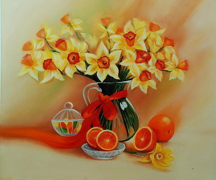 Irina Shulzhenko. Bouquet of daffodils