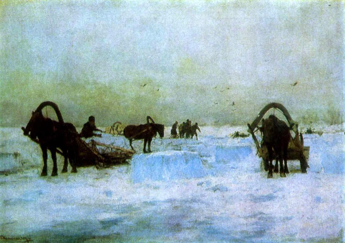 Sergey Ivanovich Svetoslavsky. Ice harvesting. Late XIX - early XX century.