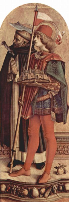 Карло Кривелли. Святой Пётр Мученик и Святой Венециан Камеринский. Алтарный триптих Камерино, правая створка