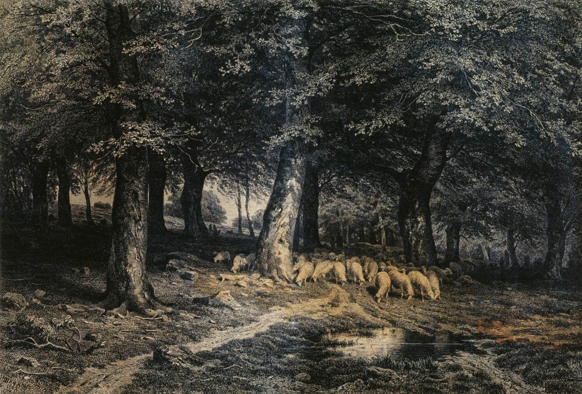 Иван Иванович Шишкин. Стадо овец в лесу