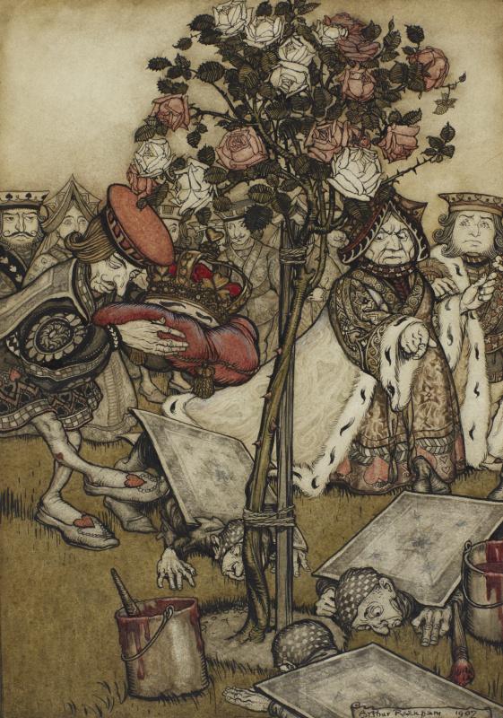 """Артур Рэкхэм. В розовом саду. Иллюстрация к сказке """"Алиса в Стране чудес"""""""
