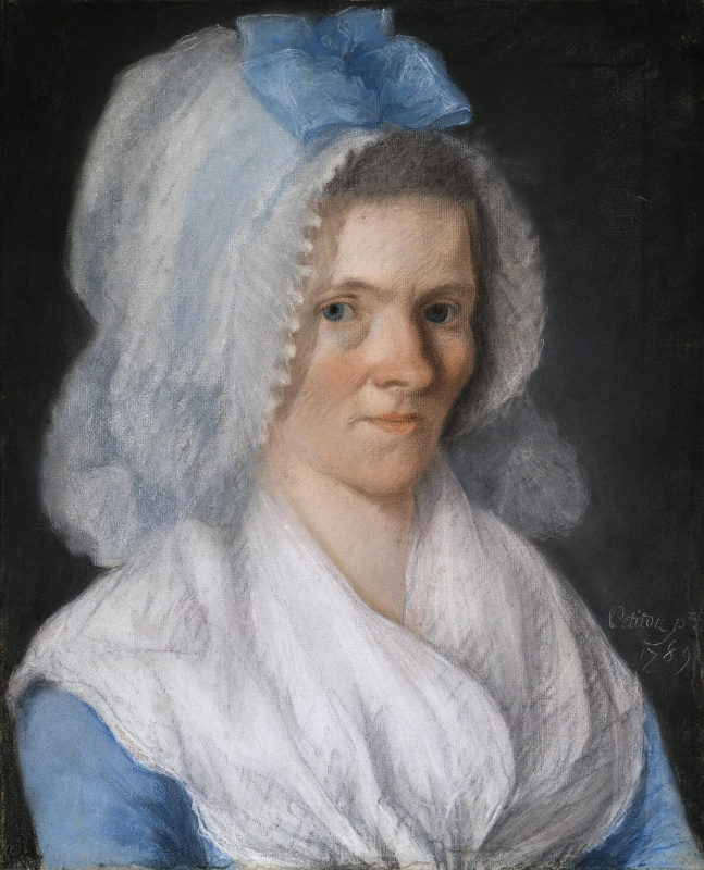 Жозеф Петито. Портрет пожилой дамы в голубом чепчике
