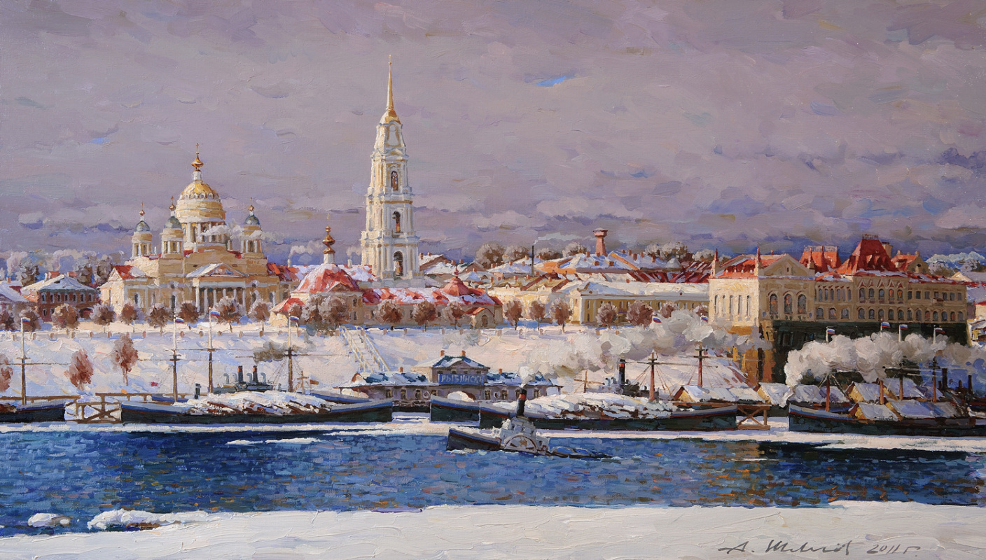 Alexander Victorovich Shevelyov. Cathedral and Exchange. Rybinsk. (winter) oil on canvas 40.7 x 70.8 cm. 2011