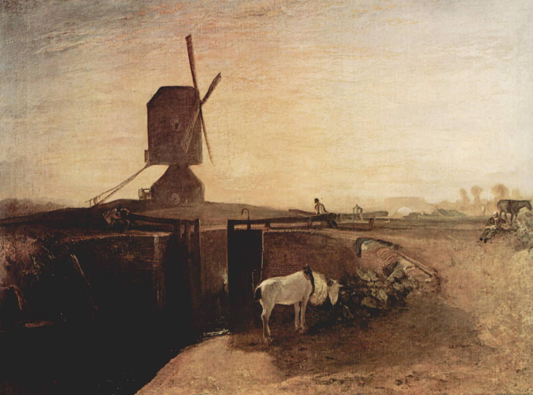 Joseph Mallord William Turner. Large connecting channel near Sautel mill (windmill and gateway)