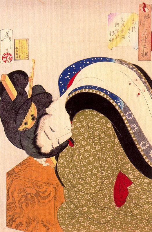 "Tsukioka Yoshitoshi. A housewife of the period, Bunsei undergoing treatment cautery. Series ""32 the feminine face of everyday life"""
